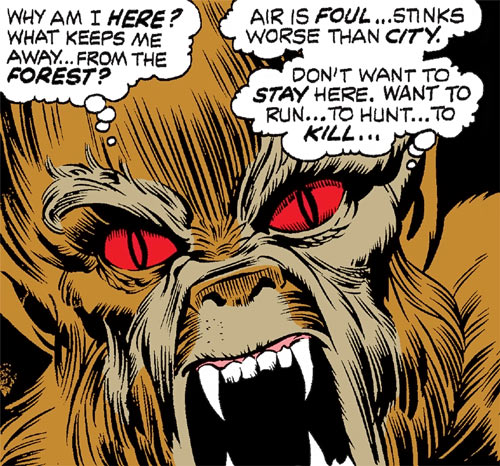 Early Werewolf by Night (Marvel Comics) face closeup