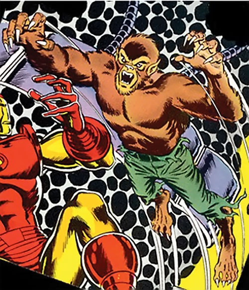 Werewolf by night (Marvel comics) (Classic) leaping onto Iron Man