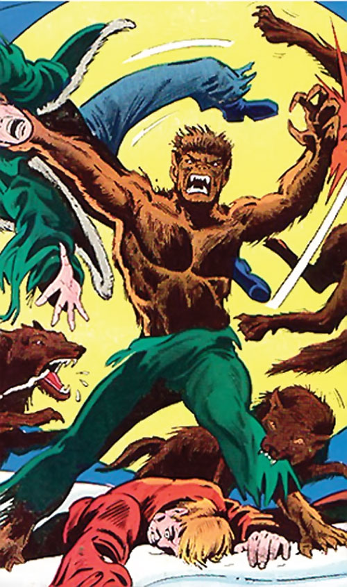 Werewolf by night (Marvel comics) (Classic) dispersing wolves and thugs