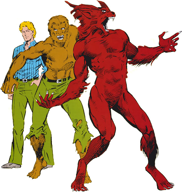 The Werewolf by Night's 3 main forms (Marvel Comics)