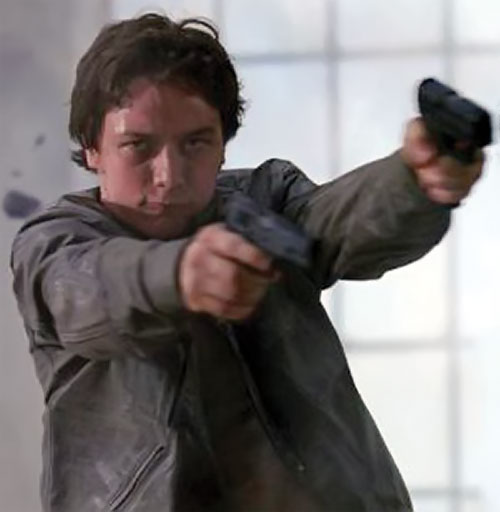 Wesley Gibson (James McAvoy in the Wanted movie) dual-wielding pistols