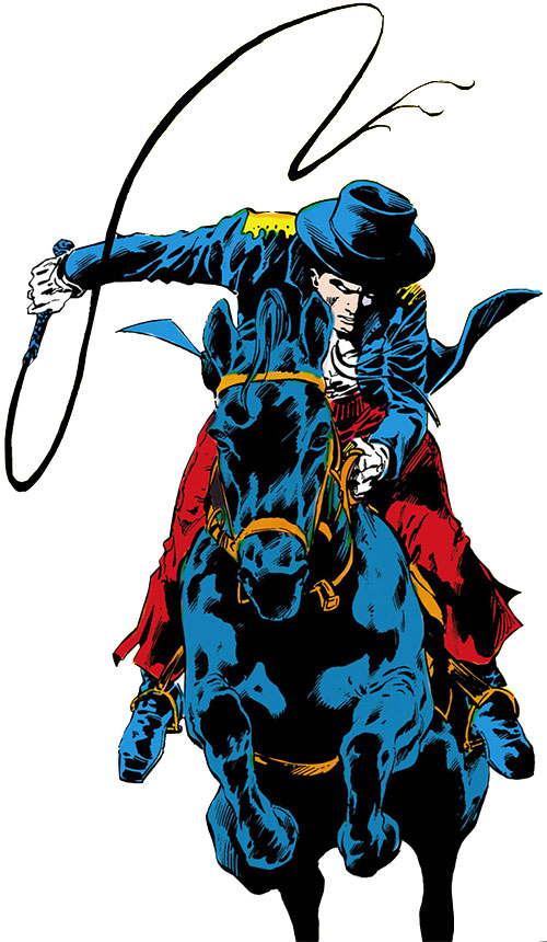 The Whip (Rod Gaynor el castigo) riding a black horse