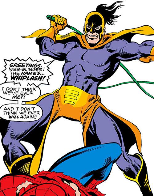 Whiplash over a prone Spider-Man
