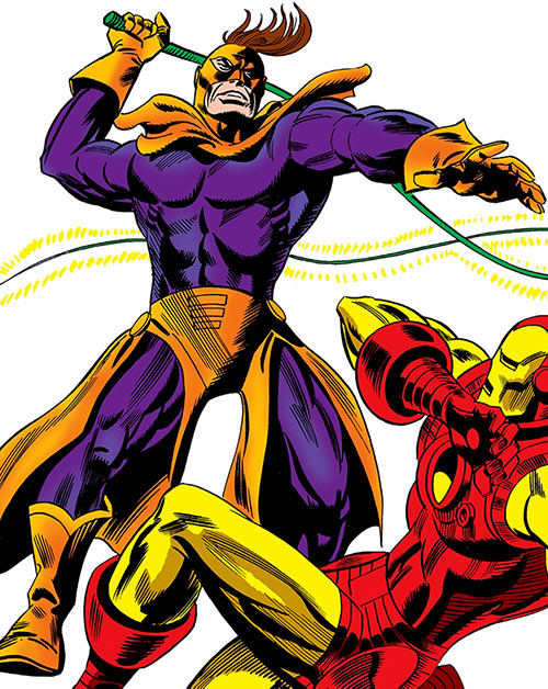 Whiplash and a cowering Iron Man (Marvel Comics)