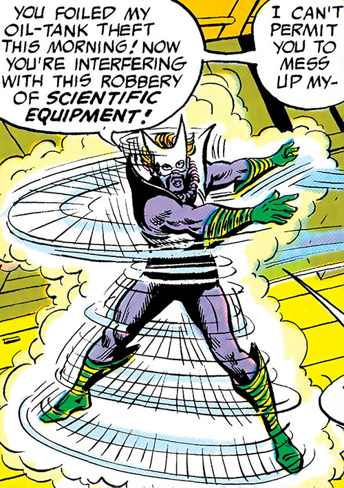Whirlicane (DC Comics) (Superman enemy) surrounded by his winds