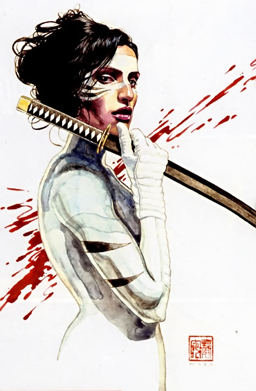 White Tiger (Angela del Toro) (Marvel Comics) painting with a sword
