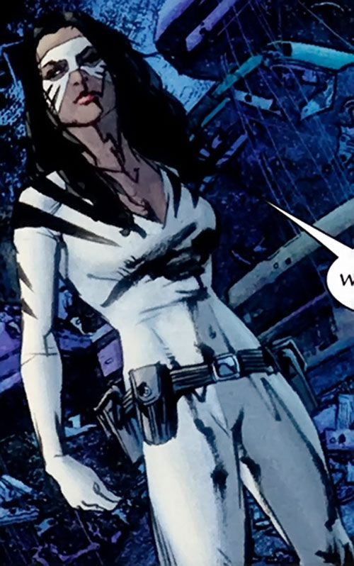 White Tiger (Angela del Toro) (Marvel Comics) standing in a dark alley