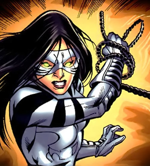 White Tiger (Angela del Toro) (Marvel Comics) catching a chain