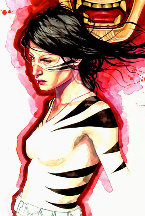 White Tiger (Angela del Toro) (Marvel Comics) painting with red motif