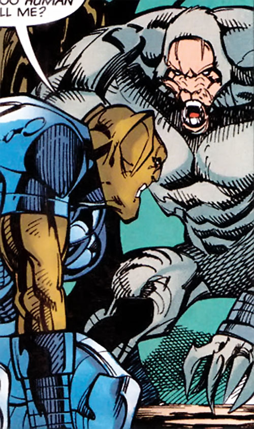 White Tiger of the Heroes for Hire (Marvel Comics) in giant humanoid form vs. the Man-Beast
