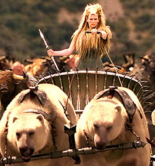 Jadis the White Witch (Tilda Swinton in Narnia) in her bear-driven chariot
