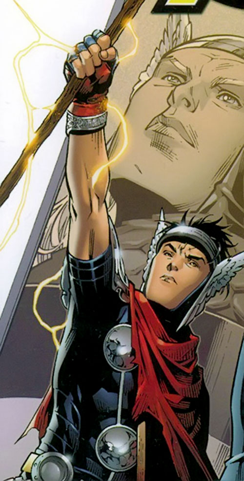 Wiccan of the Young Avengers (Marvel Comics) brandishing his staff
