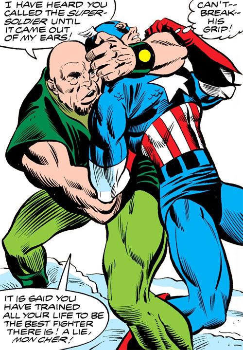 Widowmaker (Marvel Comics) wrestling with Captain America