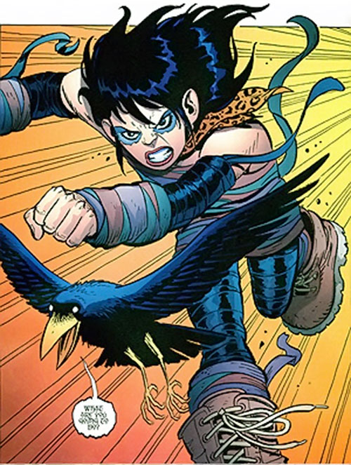 Rosa Torez (Wild Girl) (Image Comics) running angrily with her raven