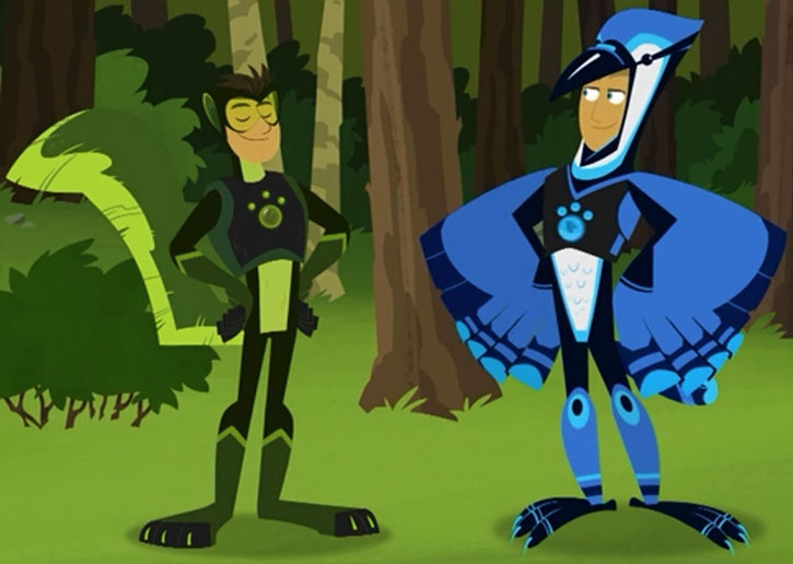 The Wild Kratts in gray squirrel and blue jay mode