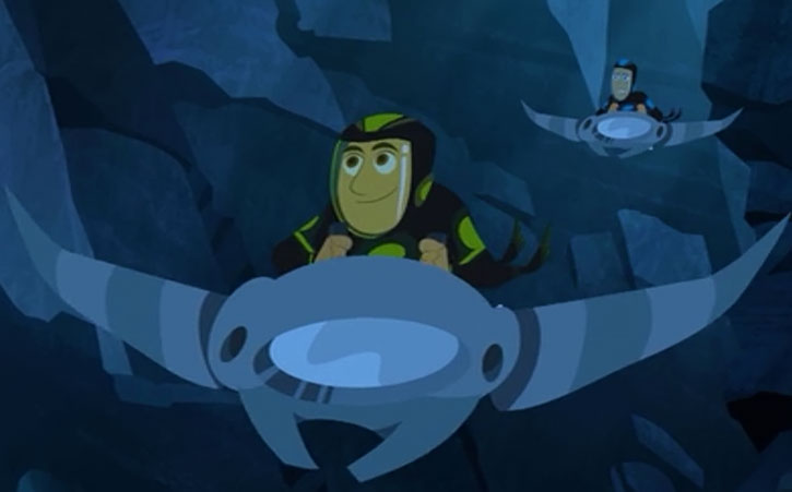 The Wild Kratts (Chris and Martin) on manta riders