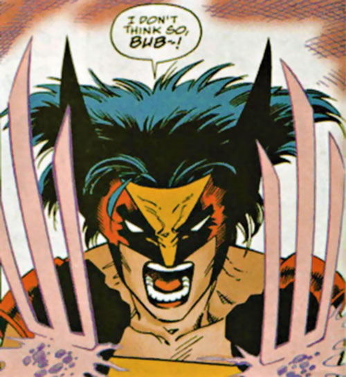 Wild Thing (Wolverine / Elektra daughter) (Marvel Comics MC2) face and claws closeup