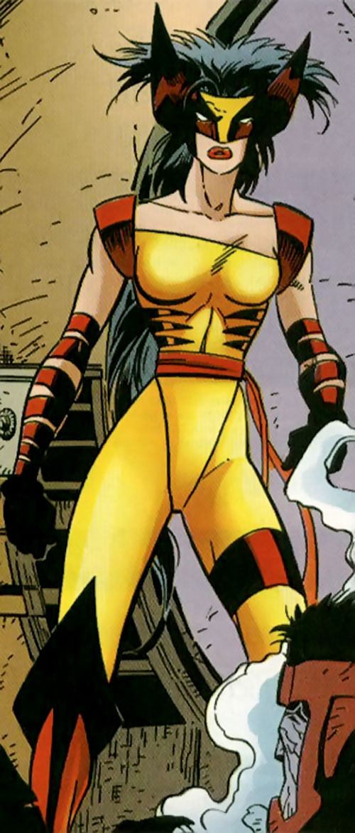 Wild Thing (Wolverine / Elektra daughter) (Marvel Comics MC2) in an alley