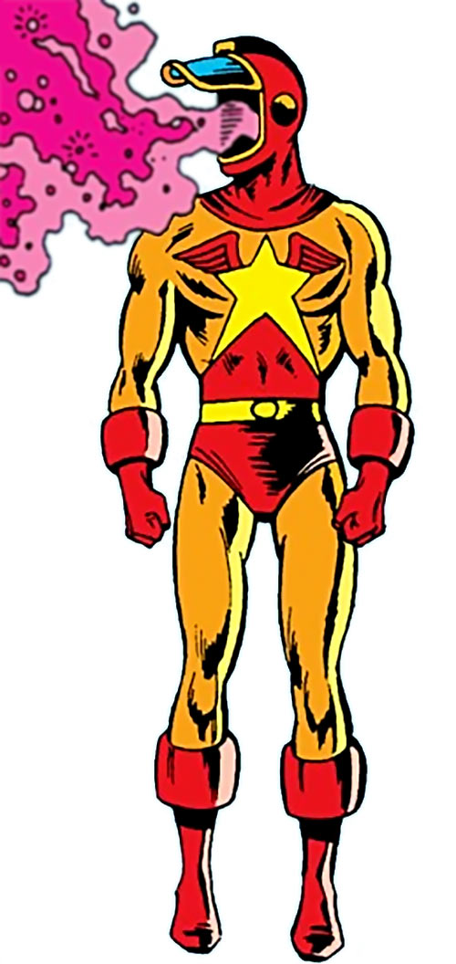 Wildfire of the Legion of Super-Heroes (pre-boot DC Comics) with his visor open