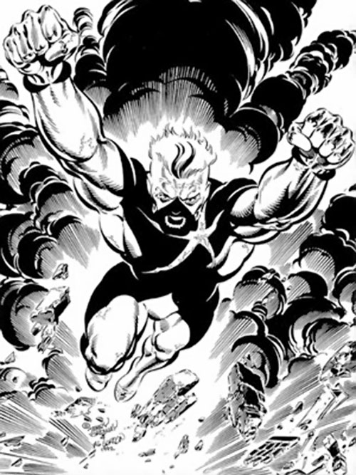 Wildstar (Savage Dragon ally) (Image Comics) flying in an explosion B&W art