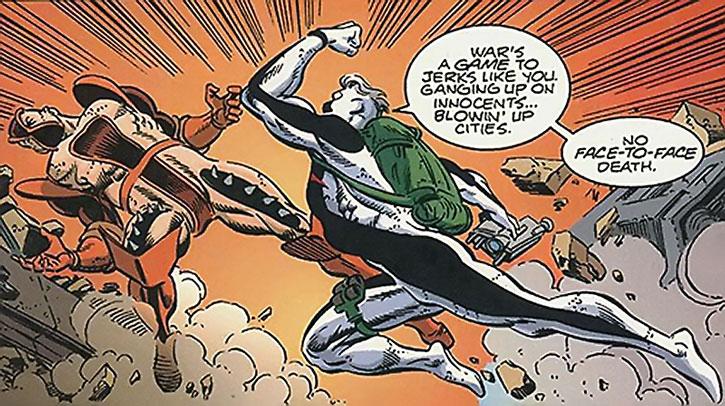 Wildstar (Micky Gabriel) punches a villain