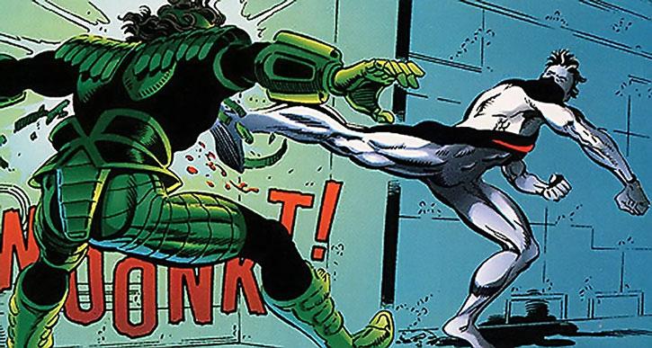 Wildstar (Micky Gabriel) kicks a man in armor