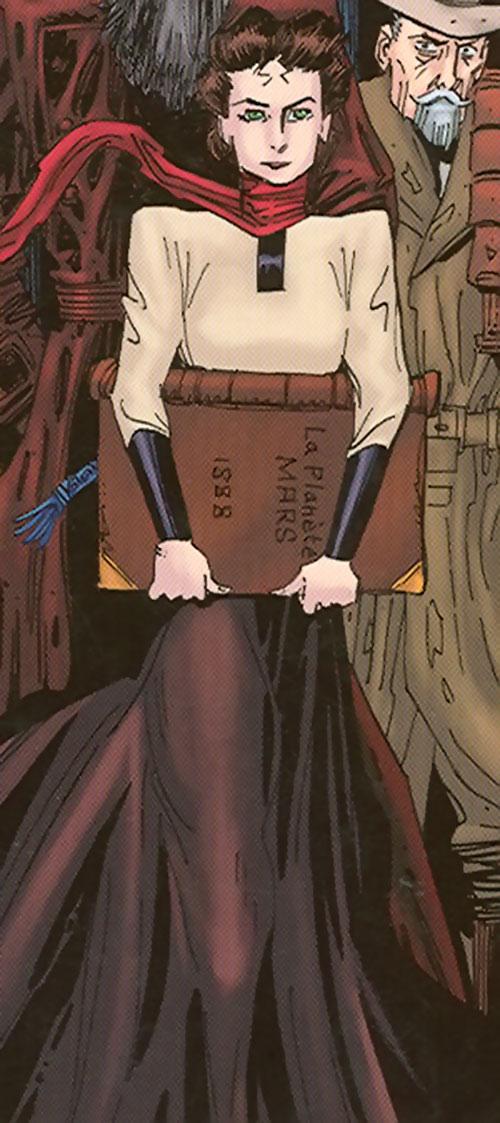 Miss Wilhelmina Murray carrying a huge book
