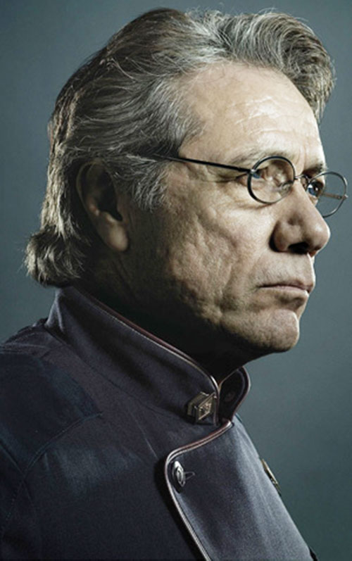 William Adama (Edward James Olmos in Battlestar Galactica) closeup