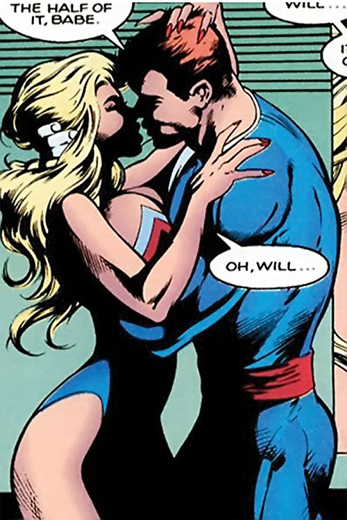 William Destine of Clan Destine (Marvel Comics) kissing a blonde