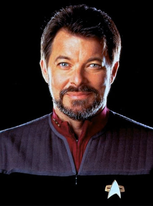 William Riker (Jonathan Frakes in Star Trek) face closeup