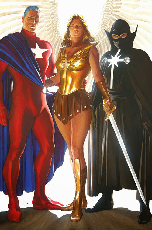 Winged Victory (Astro City comics) with the Samaritan and Confessor II