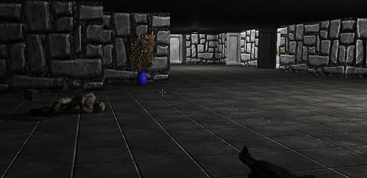 A corridor in the Wolfram Wolfenstein remake