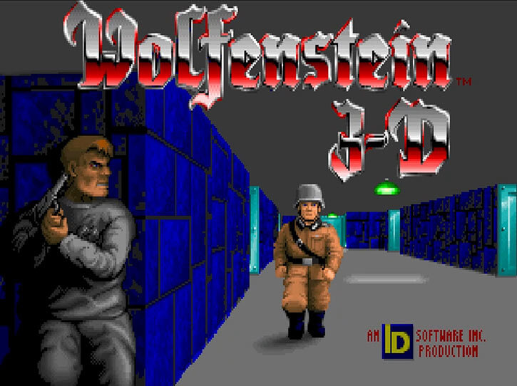 The Wolfenstein 3D title splash screen