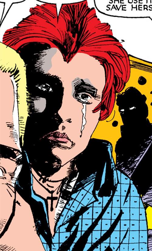 Wolfsbane (New Mutants) (Marvel Comics) (Earliest) crying face closeup blue shirt