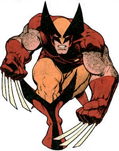 Wolverine (Marvel Comics) with the brown and orange costume