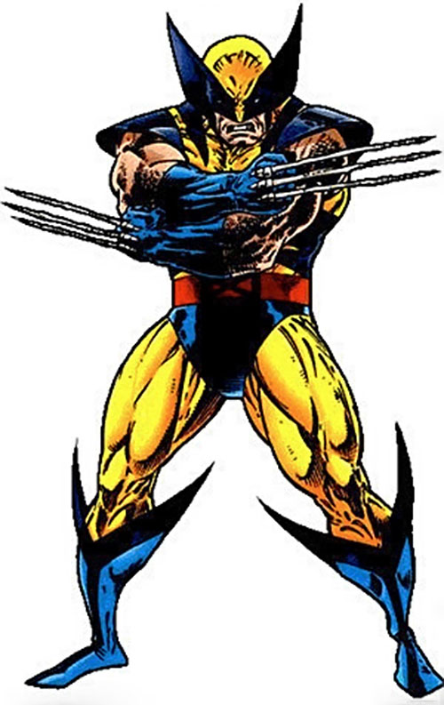 Wolverine (Marvel Comics) with the yellow costume and bone claws
