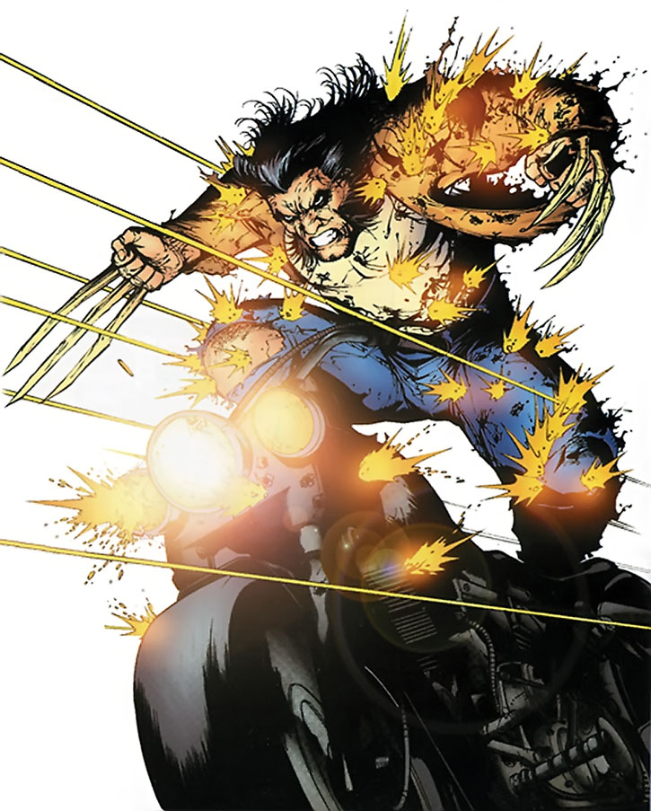 Wolverine charging into gunfire on a motorcycle