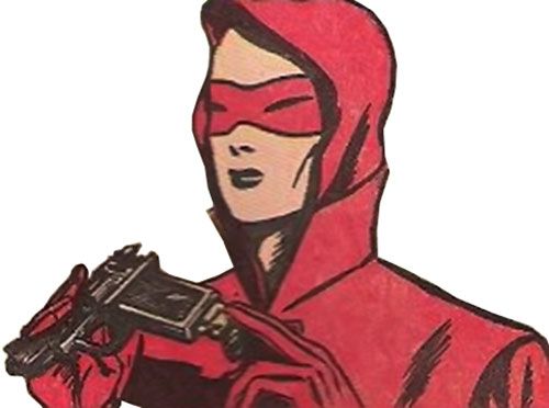 Woman in Red (Golden Age Comics) loads her pistol