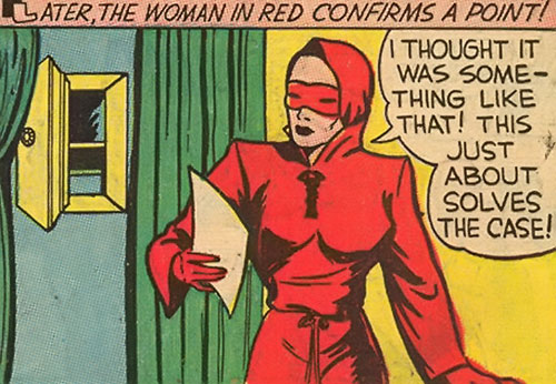 Woman in Red (Golden Age Comics) reading a paper