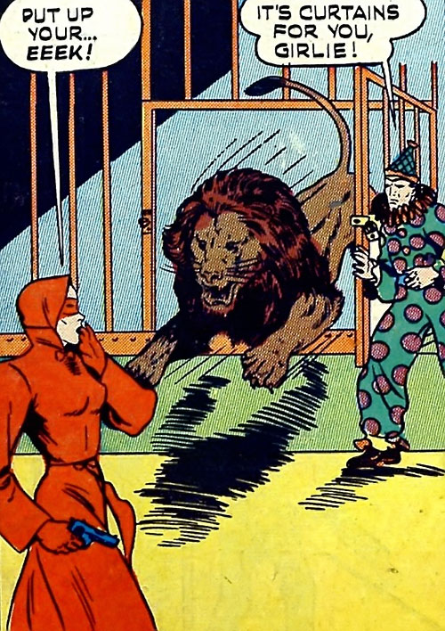 Woman in Red (Golden Age Comics) vs. a lion and a clown