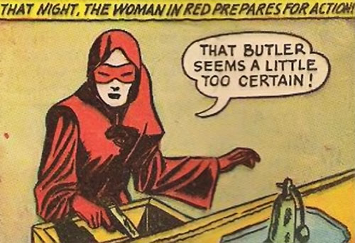 Woman in Red (Golden Age Comics) readies her pistol
