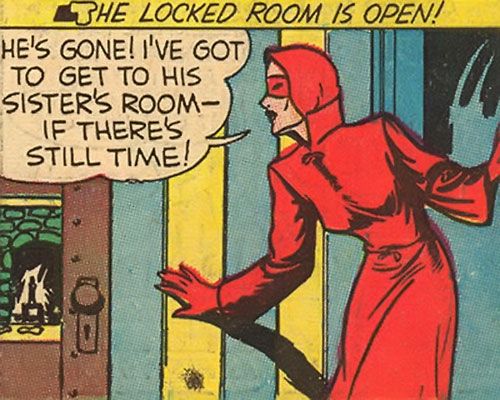 Woman in Red (Golden Age Comics) investigating