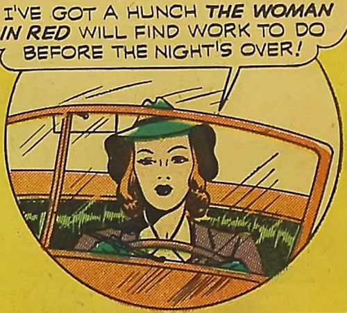 Woman in Red (Golden Age Comics) driving in her civvies