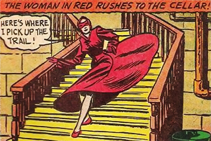 The Woman in Red (Peggy Allen) runs down the stairs
