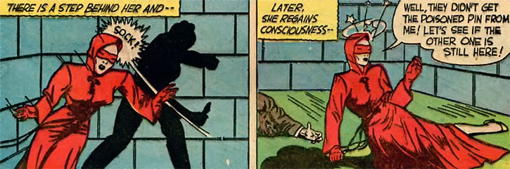 The Woman in Red (Peggy Allen) gets knocked out, again