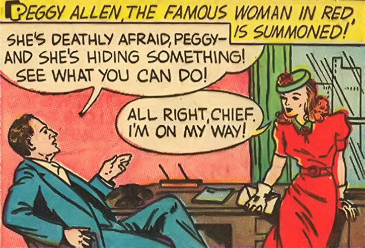 The Woman in Red (Peggy Allen) with the police chief