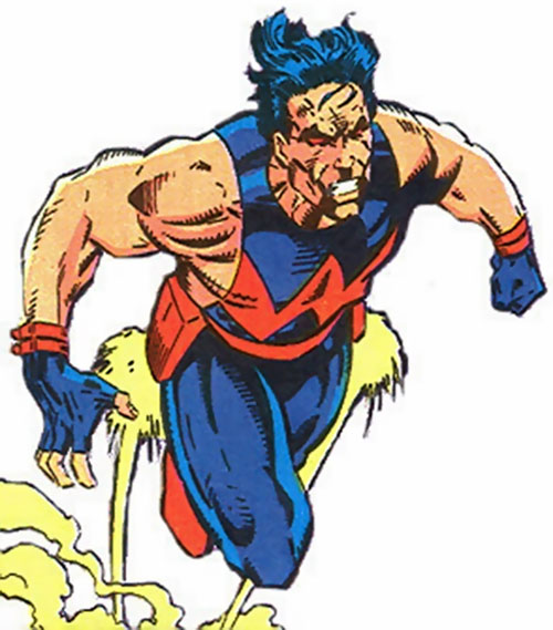Wonder Man (Marvel Comics) during his solo series, flying with his jet belt