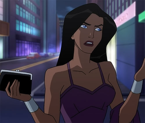 Wonder Woman (2009 animated movie version) in a purple top going out
