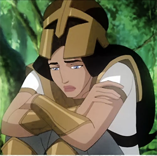 Wonder Woman (2009 animated movie version) in hoplite armor looking bluesy