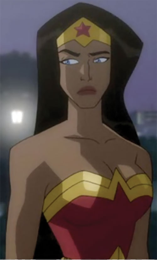 Wonder Woman (2009 animated movie version) looking hesitant